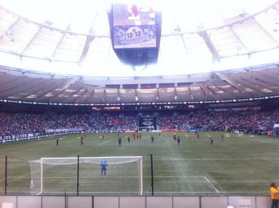 サッカーの試合観戦